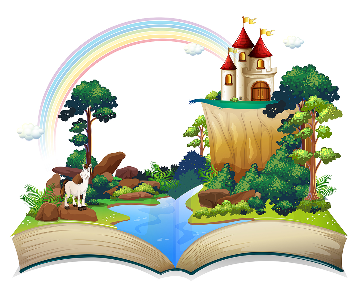 Illustration of a book with a castle at the forest on a white background